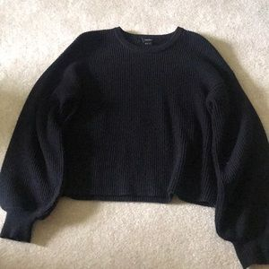 black forever 21 ribbed balloon sleeve sweater